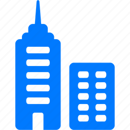 bank building, blue, business center, center, central office, centre, city, company, downtown, finance, home, house, tower, towers, town icon