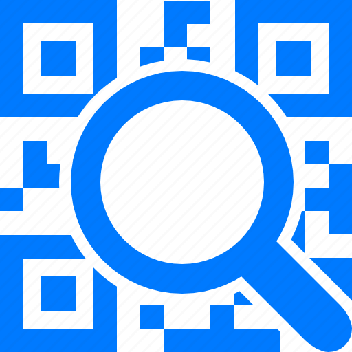 blue, code, coding, decode, explore, explorer, find, magnifying glass, mobile codes, qr, search, view, view qr-code, zoom icon