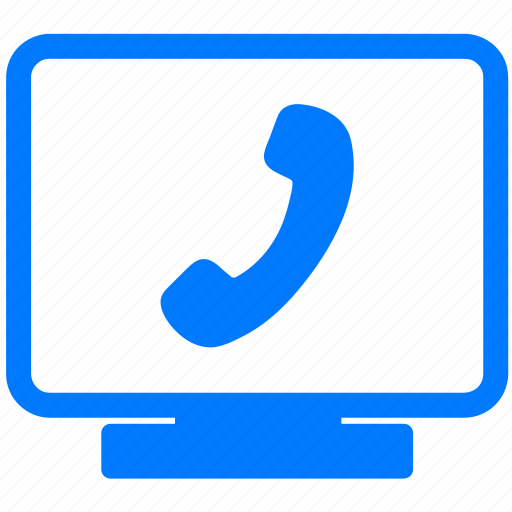 call, computer, display, help, jabber, monitor, online support, phone, screen, skype, support, telephone icon