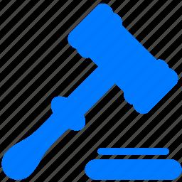 adjudication, auction, court, gavel, hammer, law, tribunal, tribunale icon