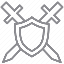 and, antivirus, defense, falchion, guard, key, lock, locked, password, protection, secure, security, shield, sword, swords icon