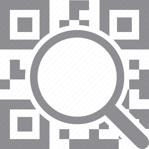 coding, decode, magnifying glass, mobile codes, qr code, view, zoom icon