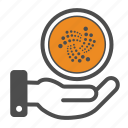 cryptocurrency, hand, iota icon