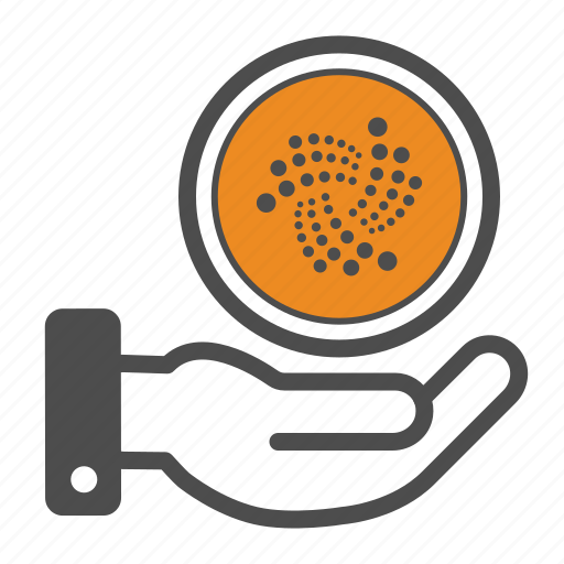 cryptocurrency, hand, iota icon