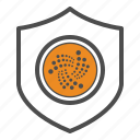 cryptocurrency, guarantee, iota, safe, secure, security icon