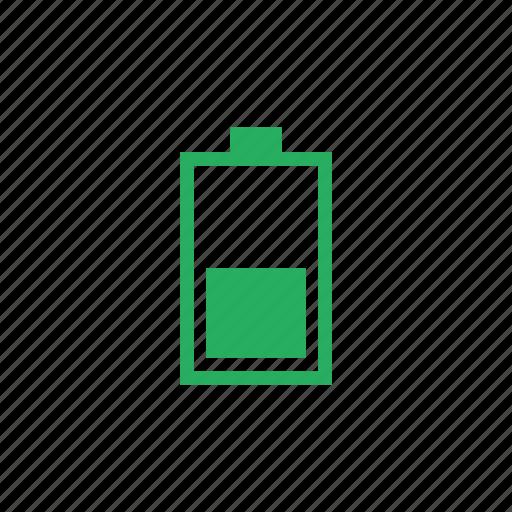 battery, charging, level, medium, vertical icon