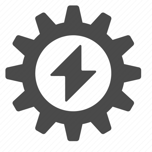 energy, gear, process, production, work icon