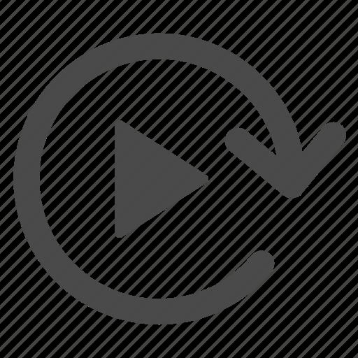arrow, clockwise, play, playback, rotate icon