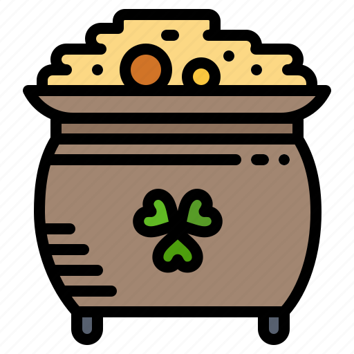 clover, coin, gold, patrick, pot, st icon