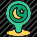 pin, moon, location, ramadan, placeholder