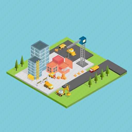 architecture, building, bulldozer, construction, crane, isometric, machine icon