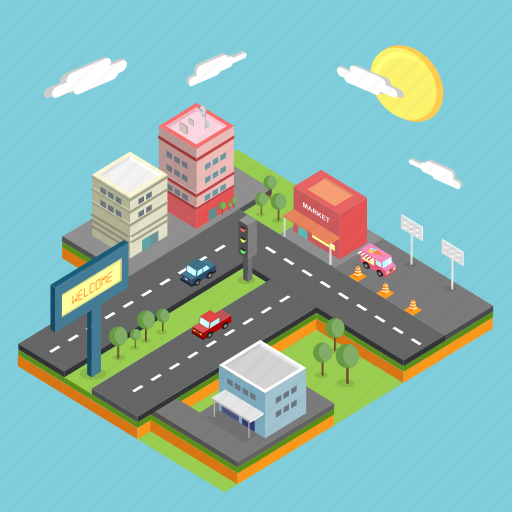 business, city, cityscape, industry, infrastructure, isometric, metropolis icon