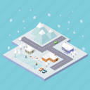 christmas, city, cold, holiday, isometric, town, winter icon