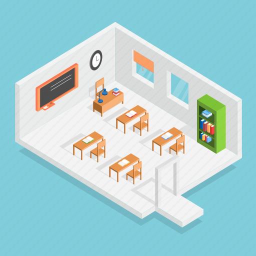 classroom, education, isometric, lesson, school, study, table icon