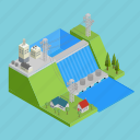 building, generator, hydro, hydroelectricity, isometric, powerhouse, technology icon