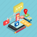 app, communication, gadget, isometric, phone, smartphone, technology