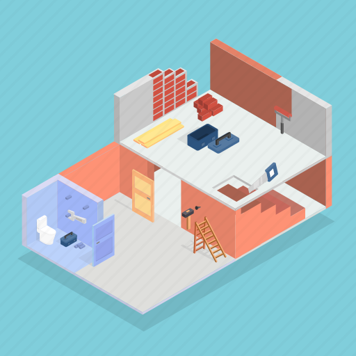architecture, building, house, interior, isometric, renovation, repair icon