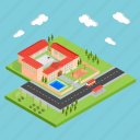 basketball, building, education, isometric, pool, school, study icon