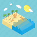beach, holiday, isometric, nature, summer, travel, wave icon