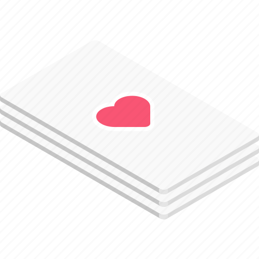 card, game, heart, isometric icon