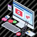 video website, web coding, web design, web development, web settings icon