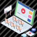business coaching, business presentation, business training, data presentation, video training icon