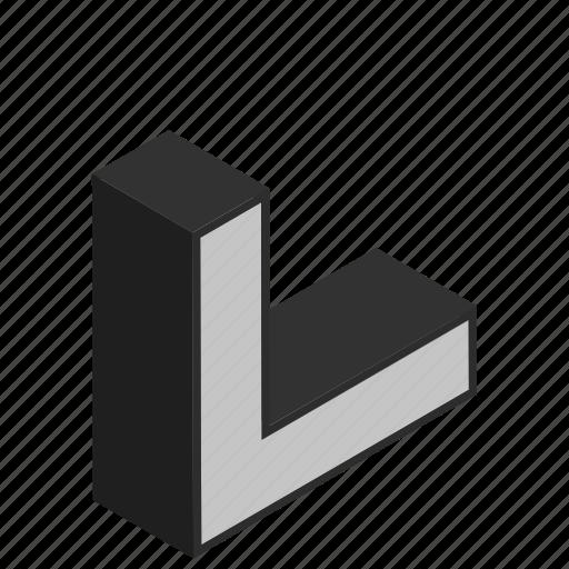 alphabet, character, corner, l, letter icon