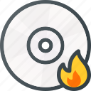 burn, cd, compact, data, disc, write icon