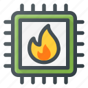 burn, chip, cpu, hot, microchip, processor icon