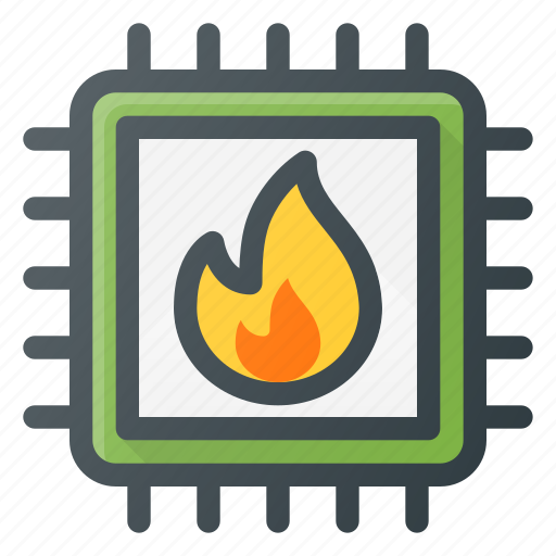 burn, chip, cpu, hot, microchip, processor icon