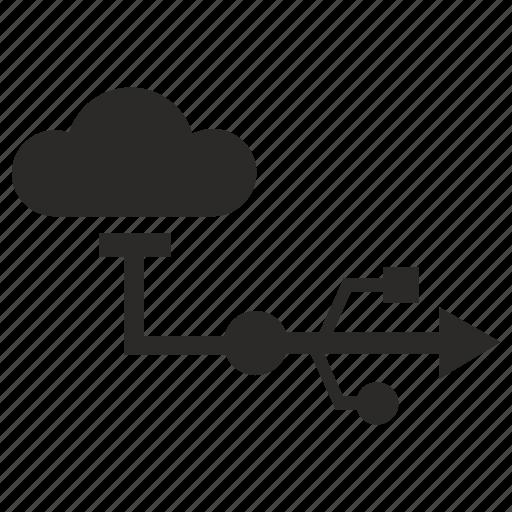 cloud, data, storage, transfer, usb icon