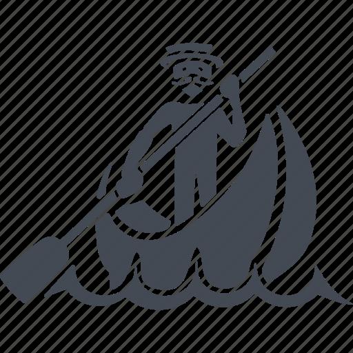 boatman, canoe, italy, paddle icon