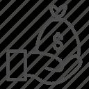 bag, bank, cash, currency, bagful, hand, dollar