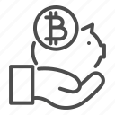 bank, bitcoin, piggy, banking, coin, hand, savings