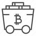 bitcoin, cart, crypto, trolley, wheel, rails, cryptocurrency