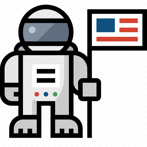 astronaut, flag, space man, space suit icon