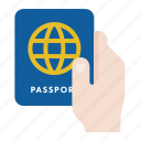 hand, passport, travel, visa icon