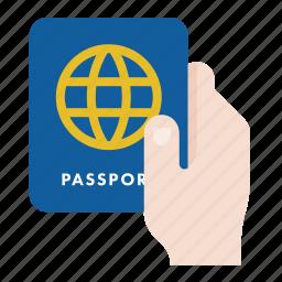 hand, passport, travel, visa icon