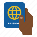 customs, hand, passport, travel icon