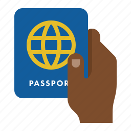 customs, hand, passport, travel icon