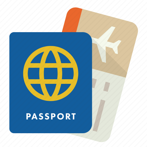 airline, boarding pass, passport, travel icon