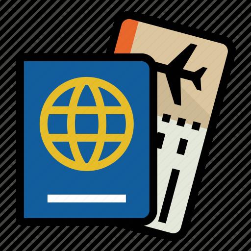 airline, boarding pass, passport, travel icon