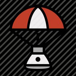 capsule, parachute, rocket, space, splashdown icon