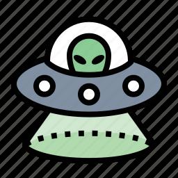aliens, sci-fi, space ship, ufo icon