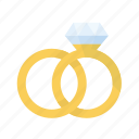 diamond, gold, rings, wedding icon