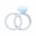engagement, love, platinum, rings, romance, wedding icon