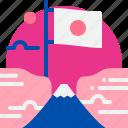 flag, fuji, japan, landmark, mountain