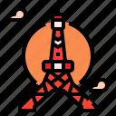 japan, landmark, tokyo, tower icon
