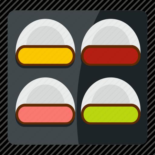 californiaroll, different sushi, eggroll, food, japan, japanese, sashimi icon