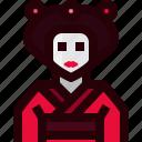 avatar, culture, female, geisha, japan, person, woman icon